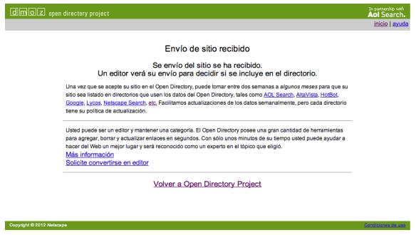 Directory MOZilla, página de confirmación de envío de URL