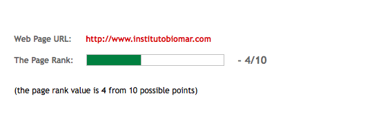 El PageRank 4 de la web Instituto Biomar