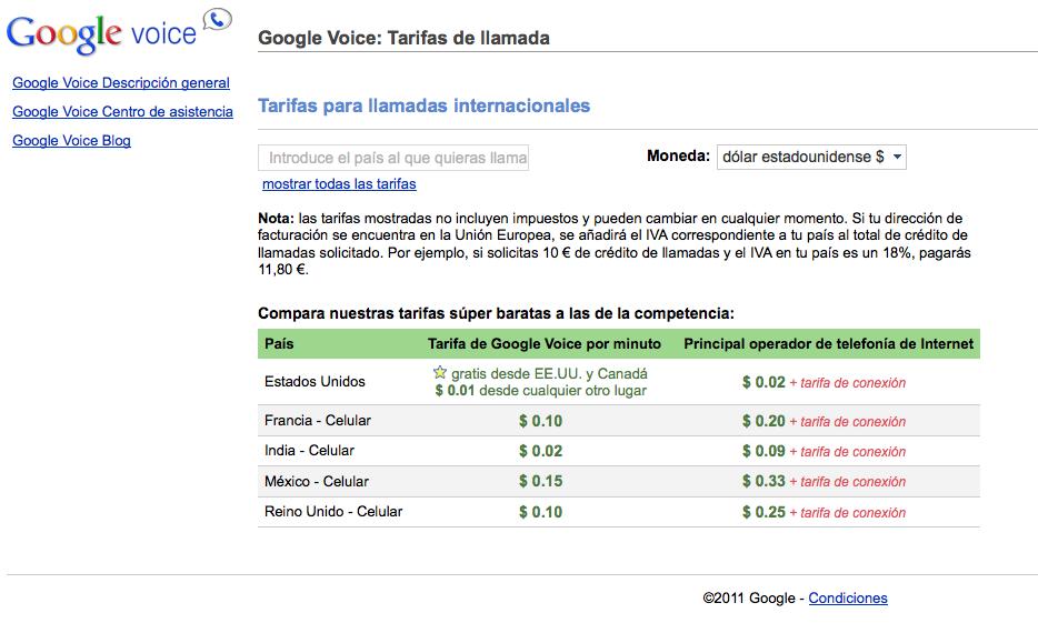 Una captura de pantalla con las tarifas de Google Voice