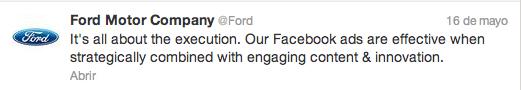 Comentario de Ford en Twitter