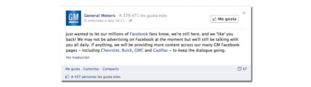 El anuncio de General Motors en Facebook