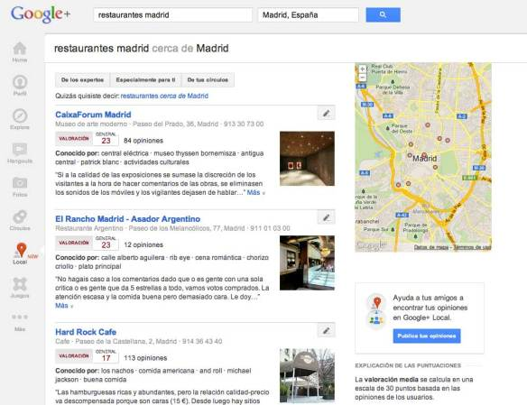Captura de pantalla de la búsqueda restaurantes Madrid en Google+ Local