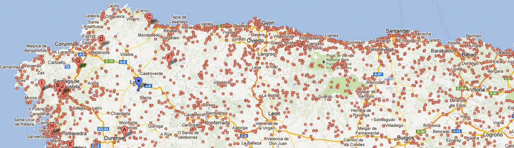 Ubicación de las casas rurales en Galicia
