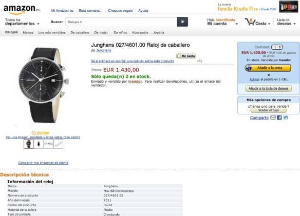 Una ficha de producto en Amazon.es