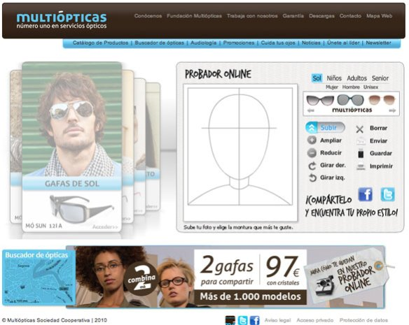 Captura de pantalla de un probador online de gafas