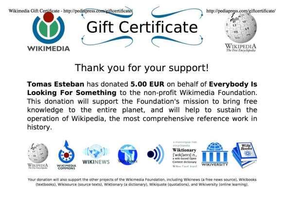Certificado de donación a Wikipedia